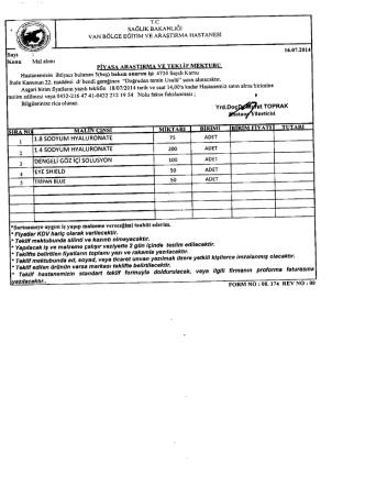 1,8 sodyum hyaluronate vb. 5 kalem - Van Bölge Eğitim ve Araştırma