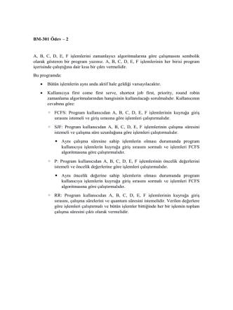 BM-301 Ödev – 2 A, B, C, D, E, F işlemlerini zamanlayıcı