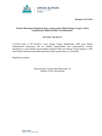 2014-73 Noterde Düzenlenen Belgelerde İmza