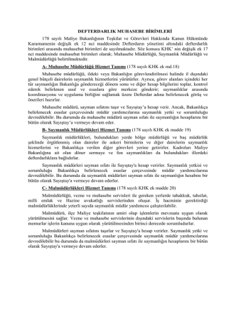 DEFTERDARLIK MUHASEBE BİRİMLERİ 178 sayılı Maliye