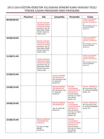 2013-2014 eğitim-öğretim yılı bahar dönemi kamu hukuku tezli