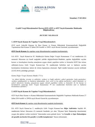 2014-18 Çeşitli Vergi Düzenlemeleri İçeren 6519