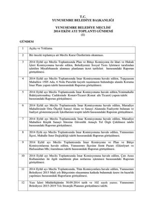 2014 Ekim Ayı Meclis Gündemi