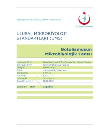 Botulismus - Türkiye Halk Sağlığı Kurumu