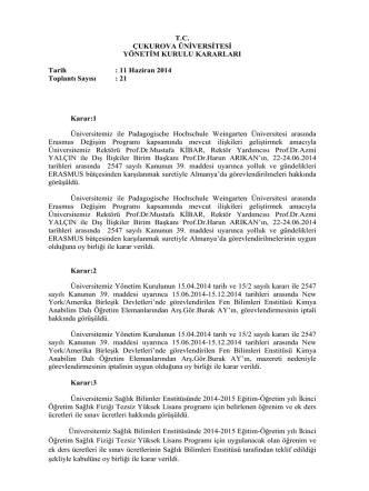 11.06.2014 Tarihli Yönetim Kurulu Kararları