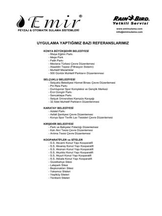 bazı referanslar - emir sulama sistemleri ve peyzaj