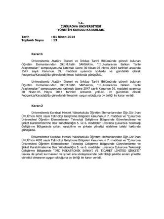 01.04.2014 Tarihli Yönetim Kurulu Kararlar