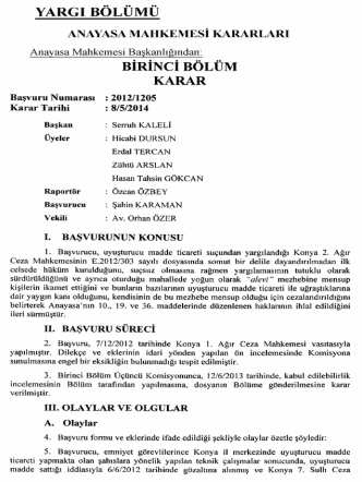 Anayasa Mahkemesinin 8/5/2014 Tarihli ve 2012