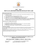 LLP – ERASMUS ÖĞRENCİ DEĞİŞİM PROGRAMI DUYURULARI
