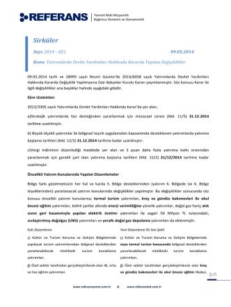 2014-021 Yatırımlarda Devlet Yardımları Hakkında Kararda Yapılan