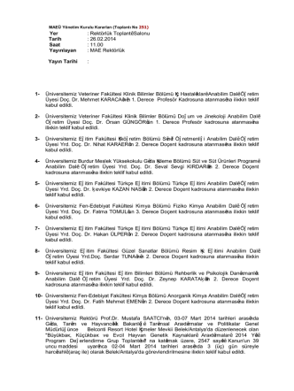 251 nolu toplantı - Genel Sekreterlik
