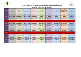 2013-2014 2. dönemi ders programı esogü eğitim fakültesi