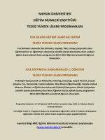 Mersin Üniversitesi Tezsiz Yüksek Lisans Tanıtım Duyurusu