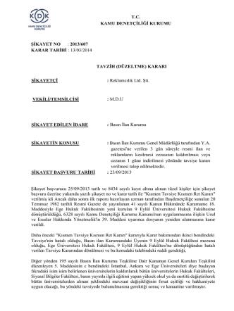 2013/607 karar tarihi : 13/03/2014 tavzih (düzeltme)