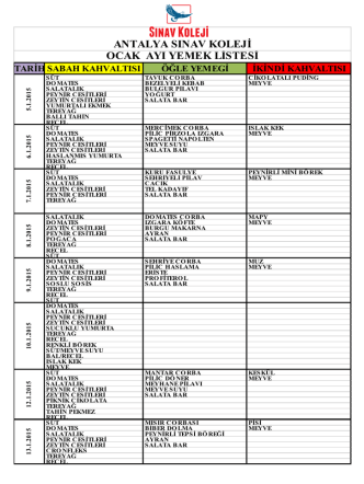 antalya sınav koleji ocak ayı yemek listesi