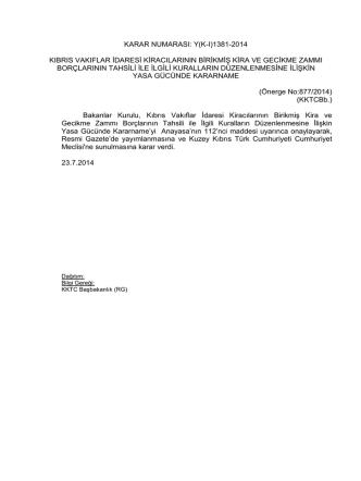 23.07.2014 - KKTC Başbakanlığı