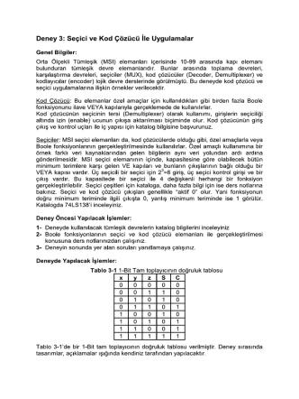 Deney 3: Seçici ve Kod Çözücü İle Uygulamalar