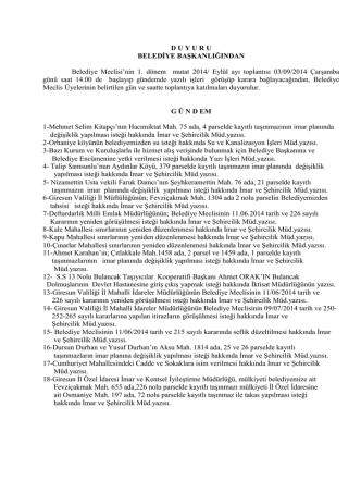 03 eylül 2014 tarihinde yapılacak olan meclis toplantısÄ