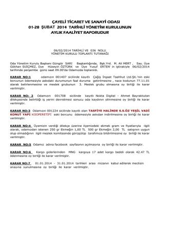 çayeli ticaret ve sanayi odası 01-28 şubat 2014 tarihli yönetim