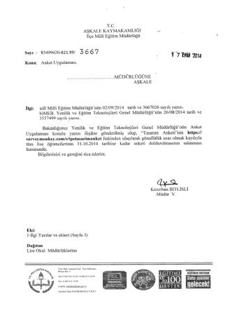 Anket Uygulaması - erzurum - aşkale ilçe millî eğitim müdürlüğü