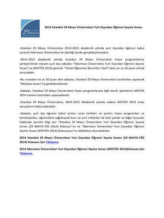 2014 İstanbul 29 Mayıs Üniversitesi Yurt Dışından Öğrenci Seçme