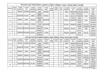 2014-2015 eğitim öğretim yılı ı. dönem ortak sınav takvimi