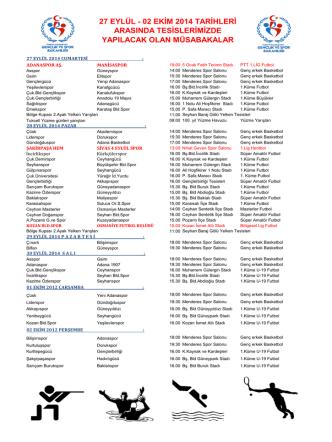 27 EYLÜL - 02 EKİM 2014 TARİHLERİ ARASINDA