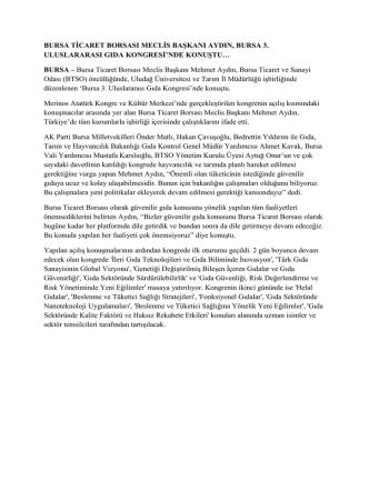 26.09.2014 Bursa 3. Uluslararası Gıda Kongresi Gerçekleşti