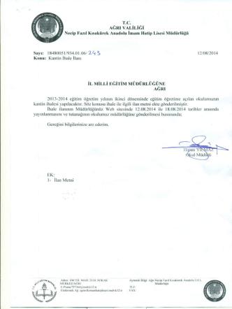 AGRI vALİLİGı - ağrı il millî eğitim müdürlüğü