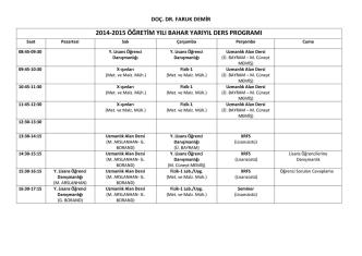 2014-2015 eğitim öğretim yılı güz dönemi haftalık ders programı