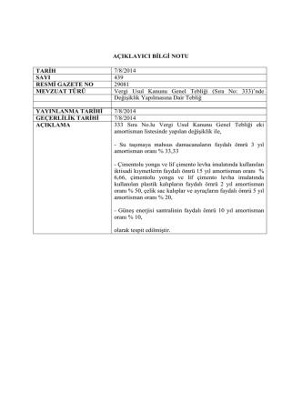 AÇIKLAYICI BİLGİ NOTU TARİH 7/8/2014 SAYI 439 RESMİ GAZETE