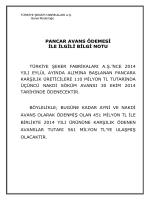 Pancar Avans Ödemesi - Türkiye Şeker Fabrikaları A.Ş.