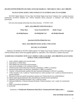 2014/2015 eğitim öğretim yılı okul aile birliği genel kurul toplantısı