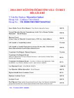 2014-2015 Öğretim Yılı Genel Ücret Bilgileri