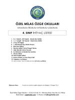 4. Sınıf İhticaç Listesi - Özel Milas Özge Okulları
