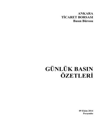 Basında bugün - Ankara Ticaret Borsası