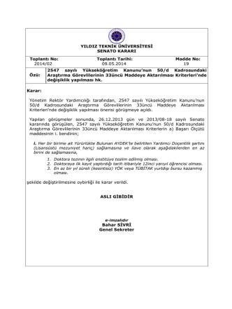 2014-02-19-50-d kadrosundaki Araş.Gör. 33. maddeye aktarılması