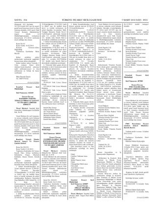 05.03.2014 8521 Sayılı Türkiye Ticaret Sicili
