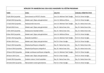 2014-2015 Akademik Yılı Eğitim Programı