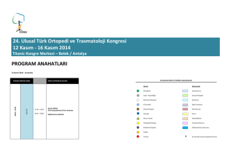 24. Ulusal Türk Ortopedi ve Travmatoloji Kongresi 12 Kasım