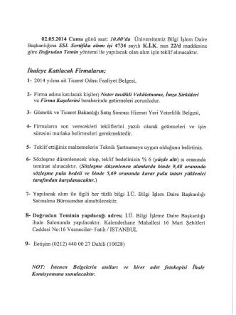 Bilgi İşlem Daire Başkanlığı tarafından İstanbul Üniversitesine ait
