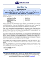 "JCR‐Eurasia Rating ""Bilkent Holding A.Ş."""