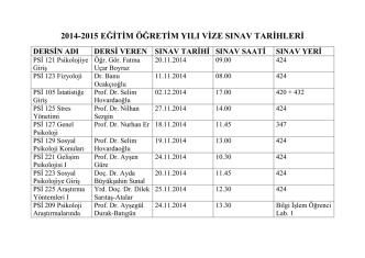 2014-2015 eğitim öğretim yılı vize sınav tarihleri