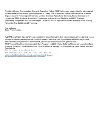 (TÜBİTAK) grants scholarships for international students seekıng