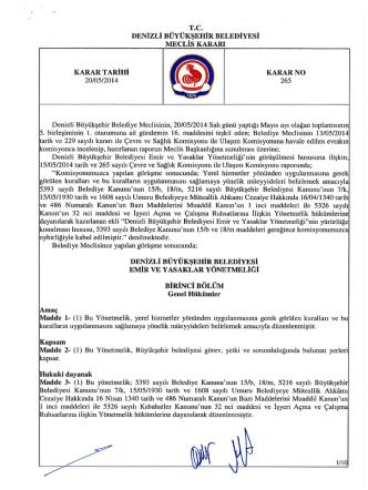 Denizli Büyükşehir Belediyesi Emir ve Yasaklar