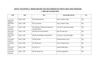 2014-15 Güz Dönemi Radyo Televizyon ve Sinema Bölümü Final