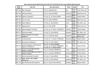 2013-2014 bahar dönemi lisansüstü eğitim haftalık ders programı