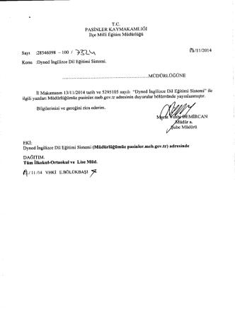 19/11/2014 Tarihli Yazılar - Pasinler İlçe Milli Eğitim Müdürlüğü