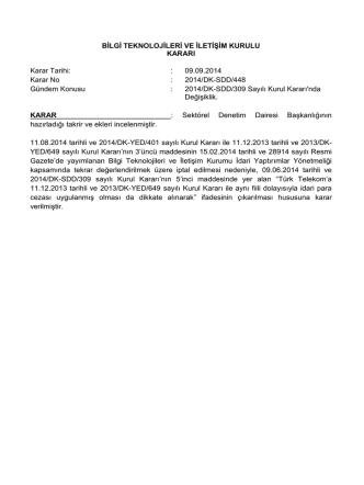 2014/DK-SDD/448 09 Eylül 2014 2014/DK-SDD/309