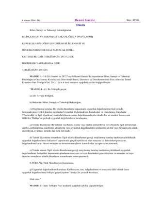 Bilim, Sanayi ve Teknoloji Bakanlığınca Onaylanmış Kuruluşların